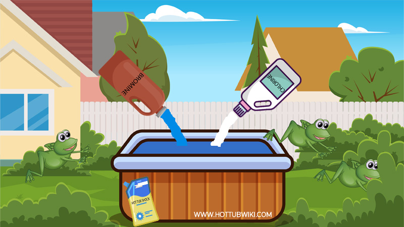 The best way you can keep frogs away from your hot tub is to use chemicals and clean your hot tub. If you have a clean hot tub, no pests will be around. If there are no pests then frogs won't stick around. Plus, the hot tub's chemical smell will scare frogs away.
