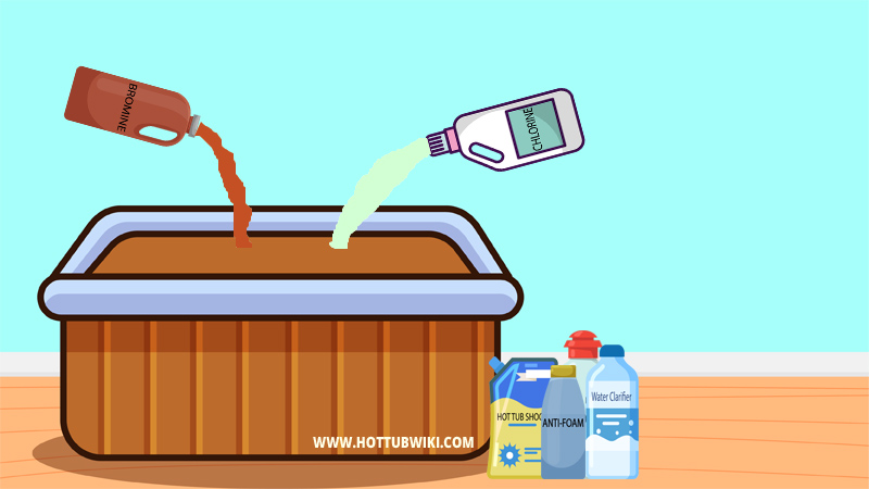 If you have too many sanitizers then that will cause stains in your hot tub. Make sure to add the right amount of chlorine and bromine.
