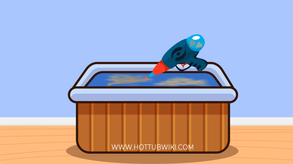 Using pool toys such as a water gun is a good way to get rid of dirt from your hot tub.