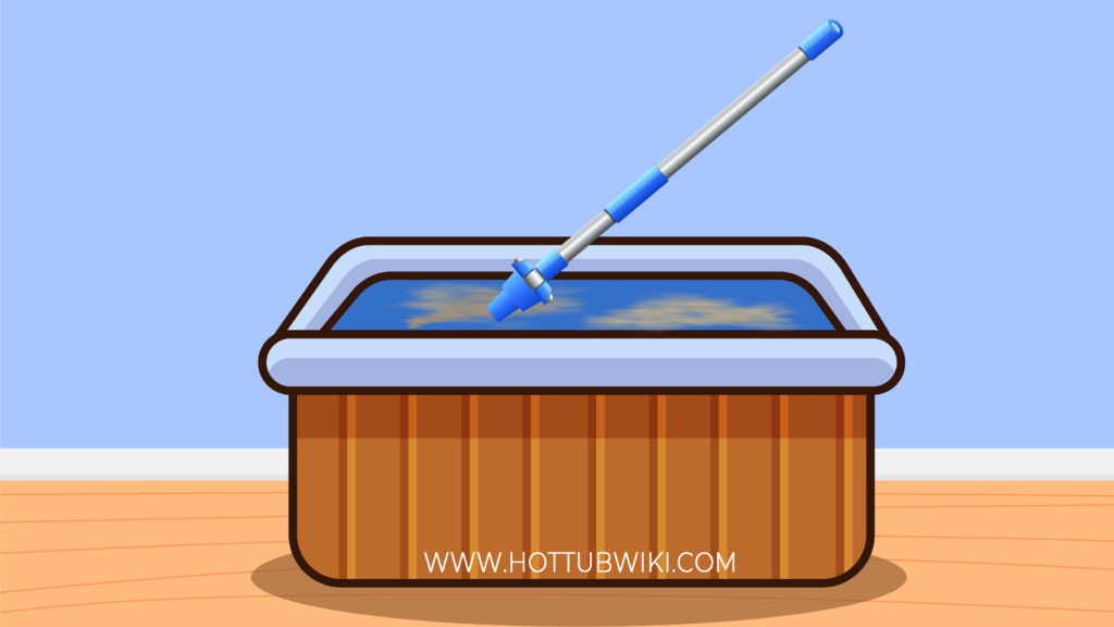 You can use a spa wand to clean the bottom of your hot tub.